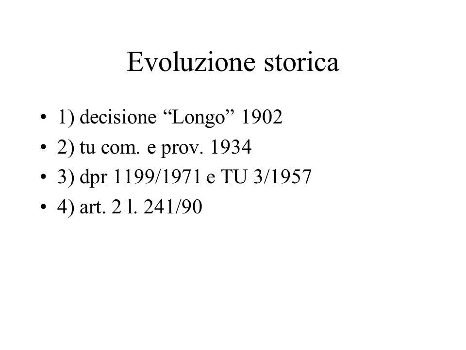 Evoluzione storica 1) decisione Longo 1902 2) tu com. e prov. 1934