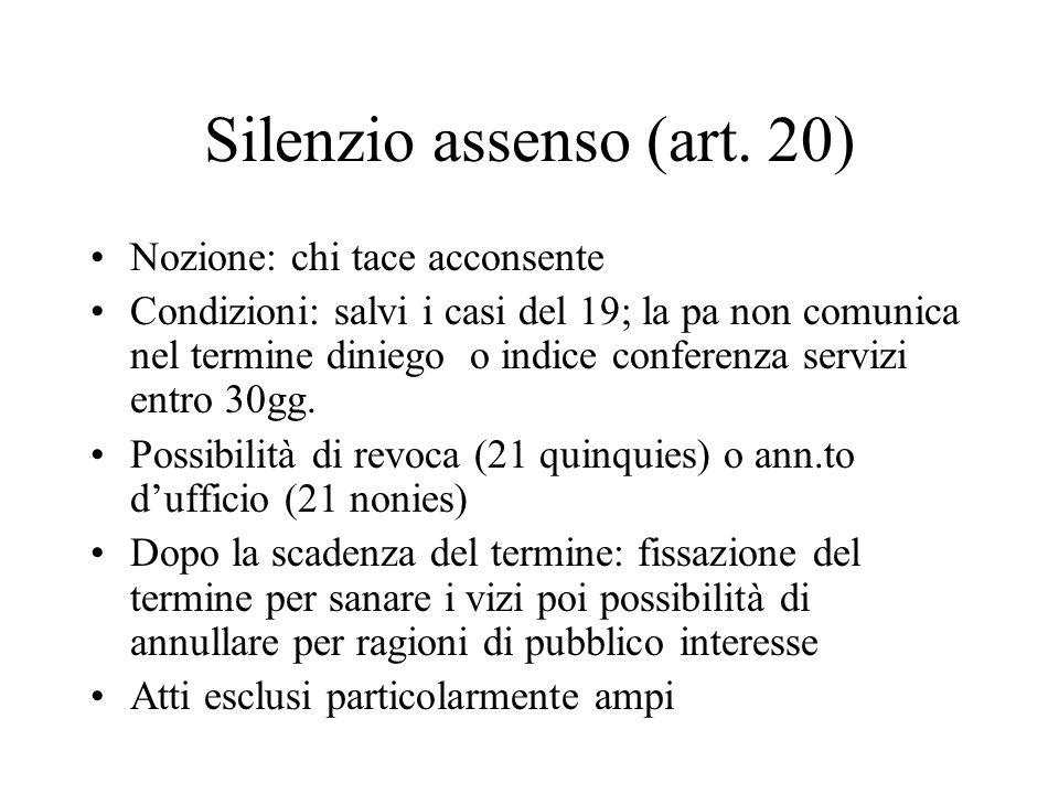 Silenzio assenso (art. 20)