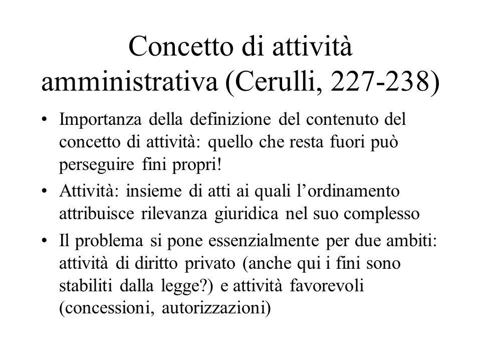 Concetto di attività amministrativa (Cerulli, 227-238)
