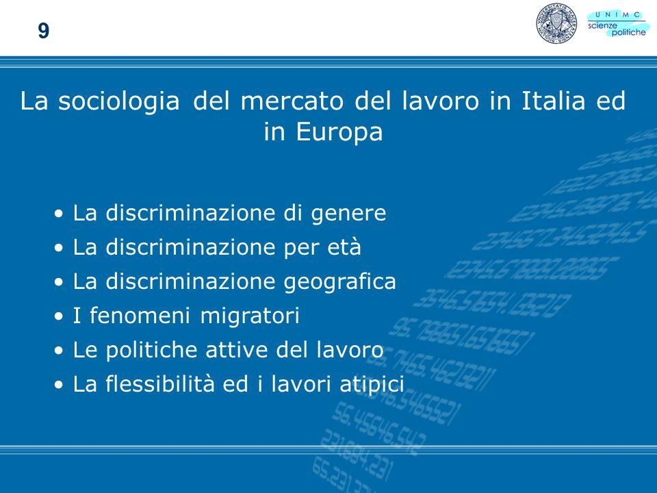 La sociologia del mercato del lavoro in Italia ed in Europa