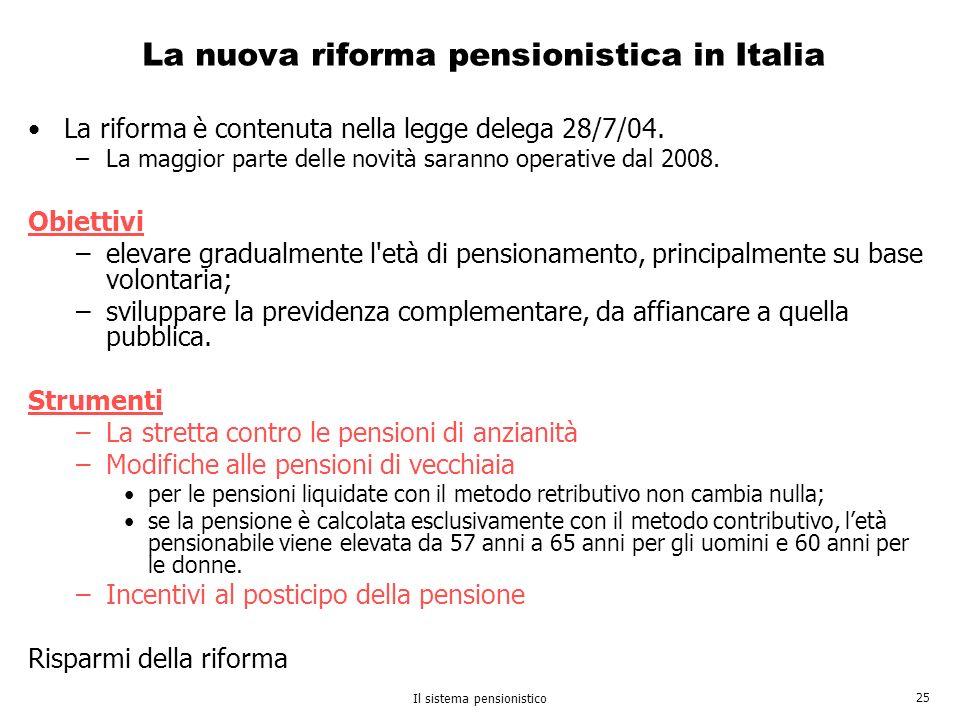 La nuova riforma pensionistica in Italia