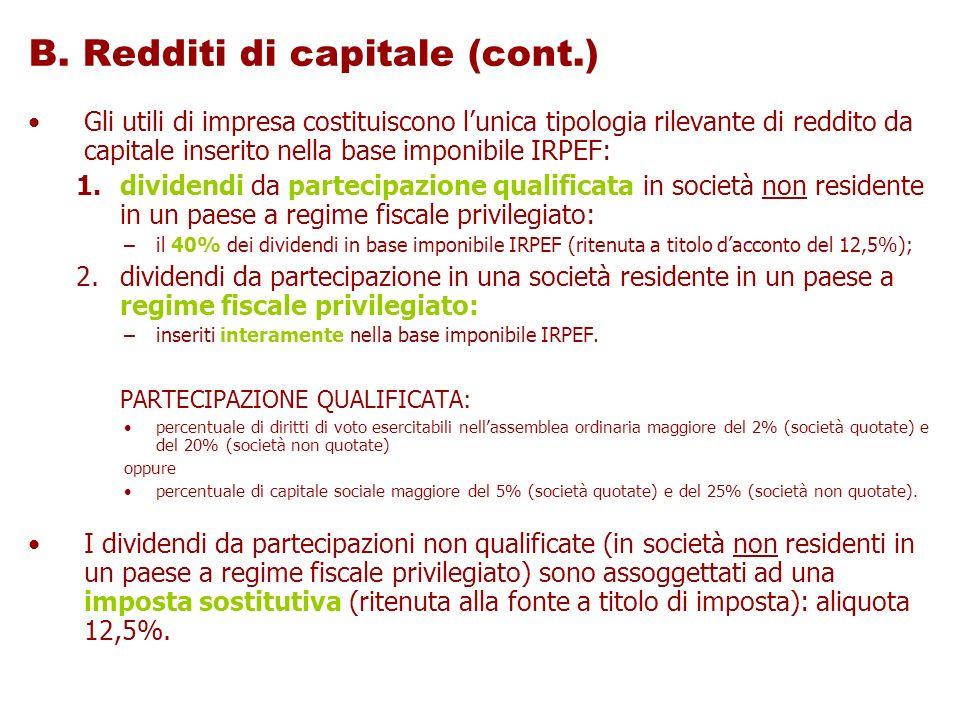 B. Redditi di capitale (cont.)