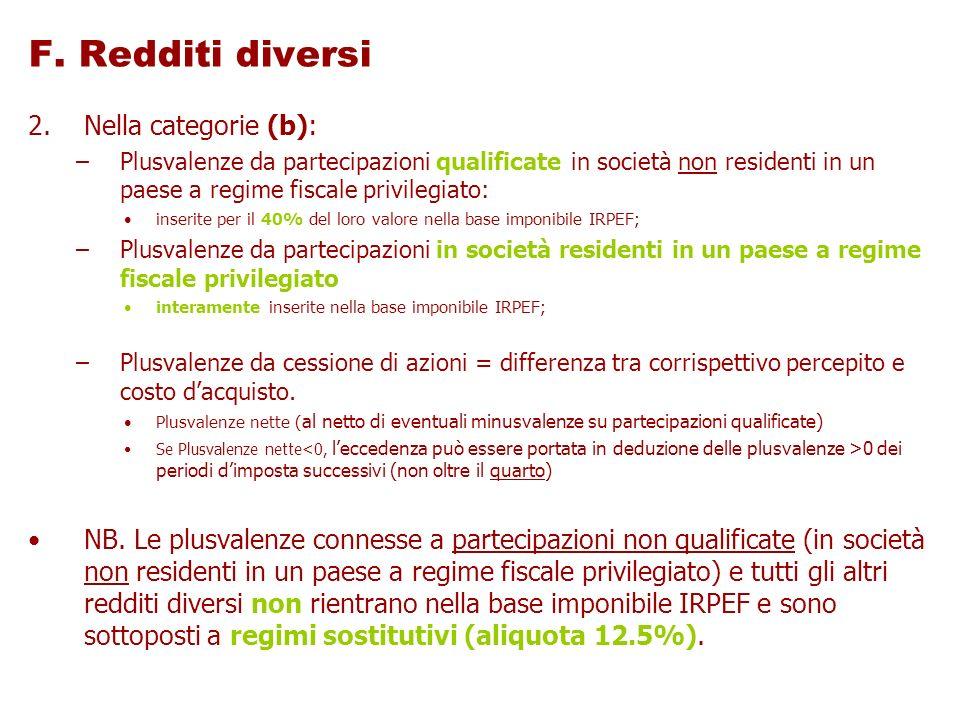 F. Redditi diversi Nella categorie (b):