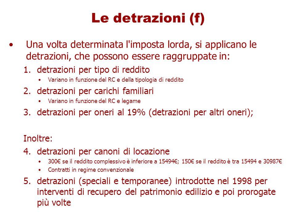 Le detrazioni (f)Una volta determinata l imposta lorda, si applicano le detrazioni, che possono essere raggruppate in:
