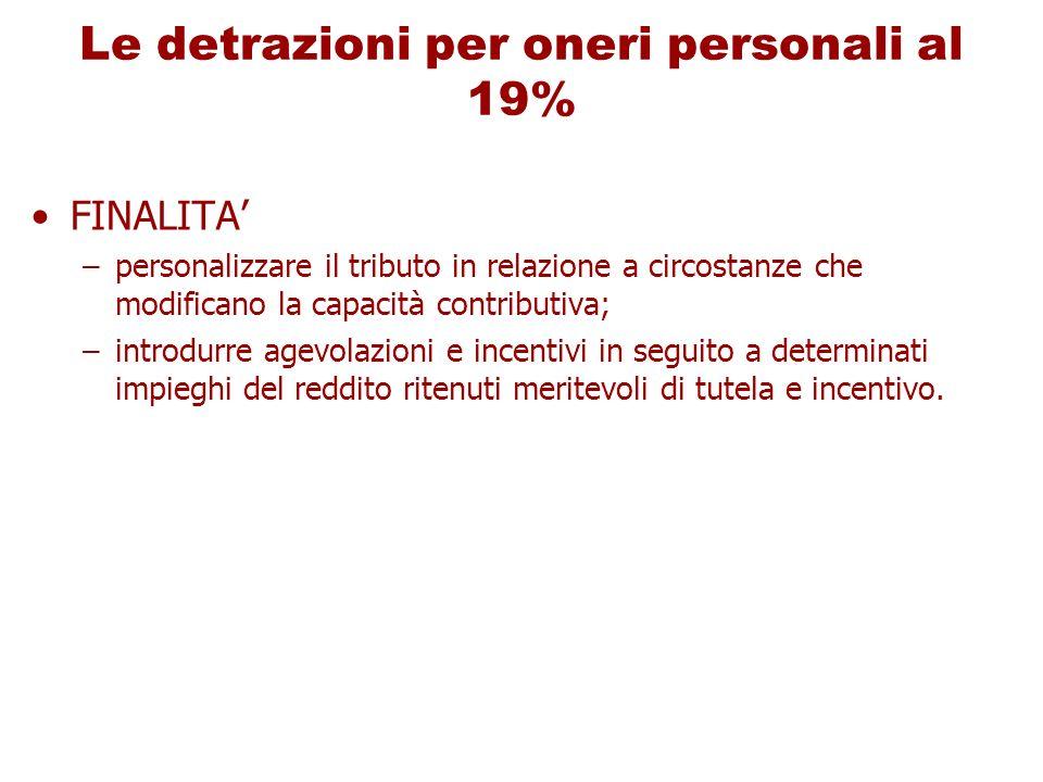 Le detrazioni per oneri personali al 19%