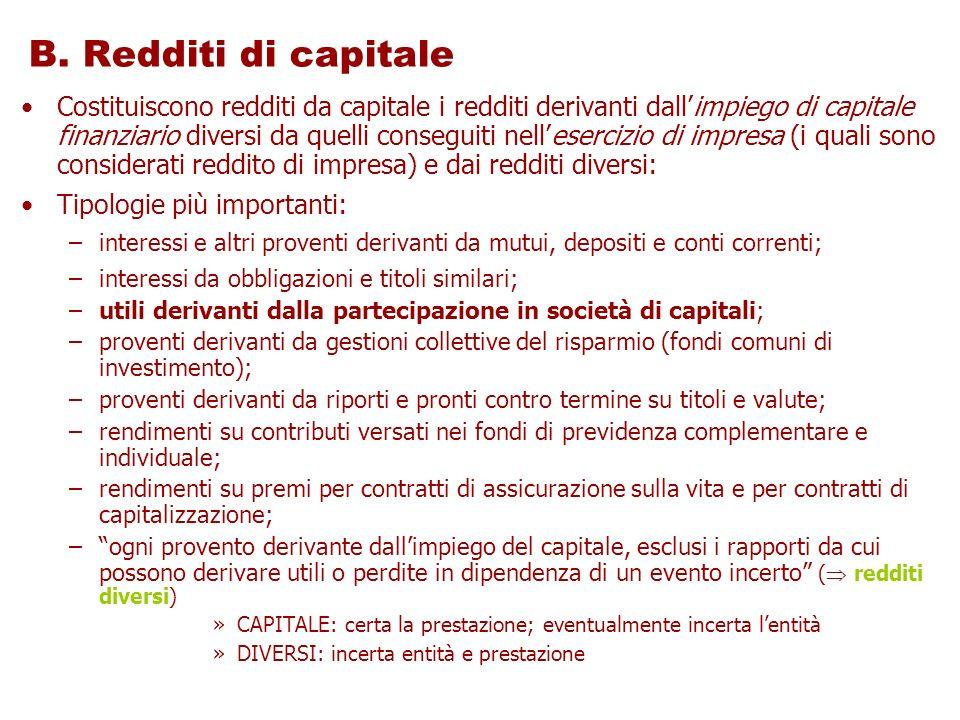 B. Redditi di capitale