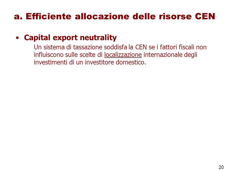 a. Efficiente allocazione delle risorse CEN