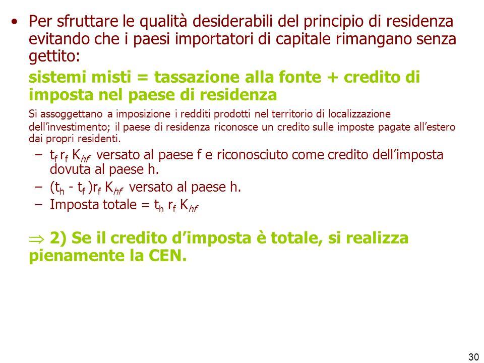  2) Se il credito d'imposta è totale, si realizza pienamente la CEN.