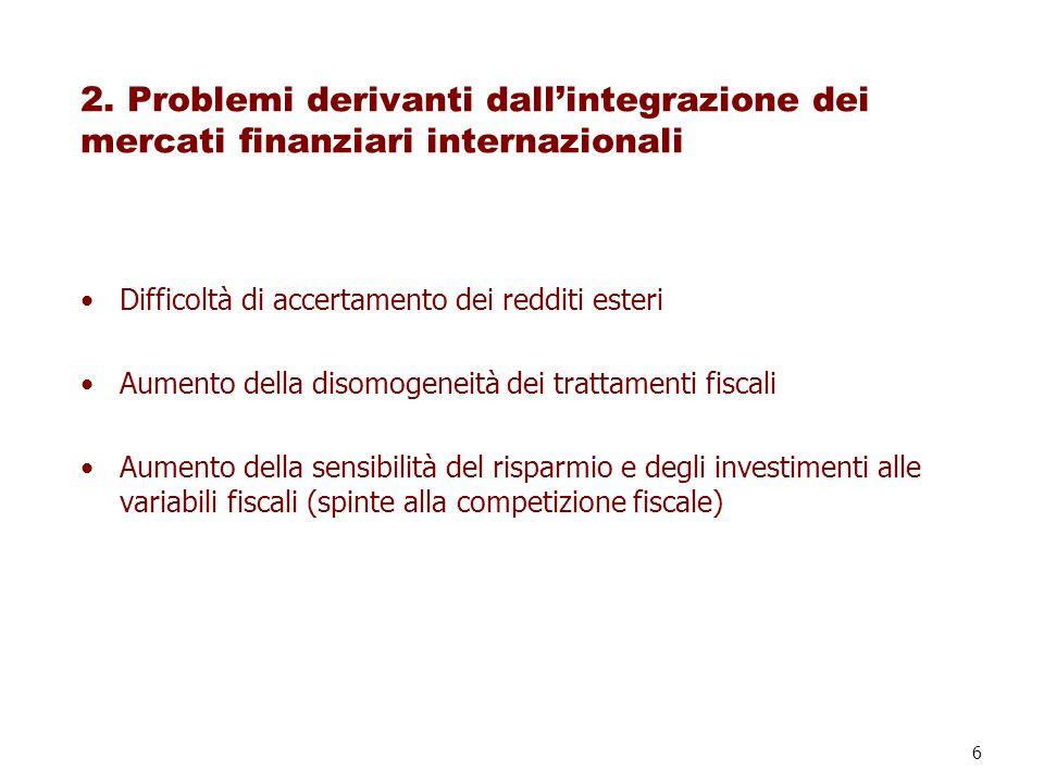 2. Problemi derivanti dall'integrazione dei mercati finanziari internazionali