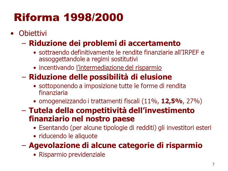 Riforma 1998/2000 Obiettivi Riduzione dei problemi di accertamento