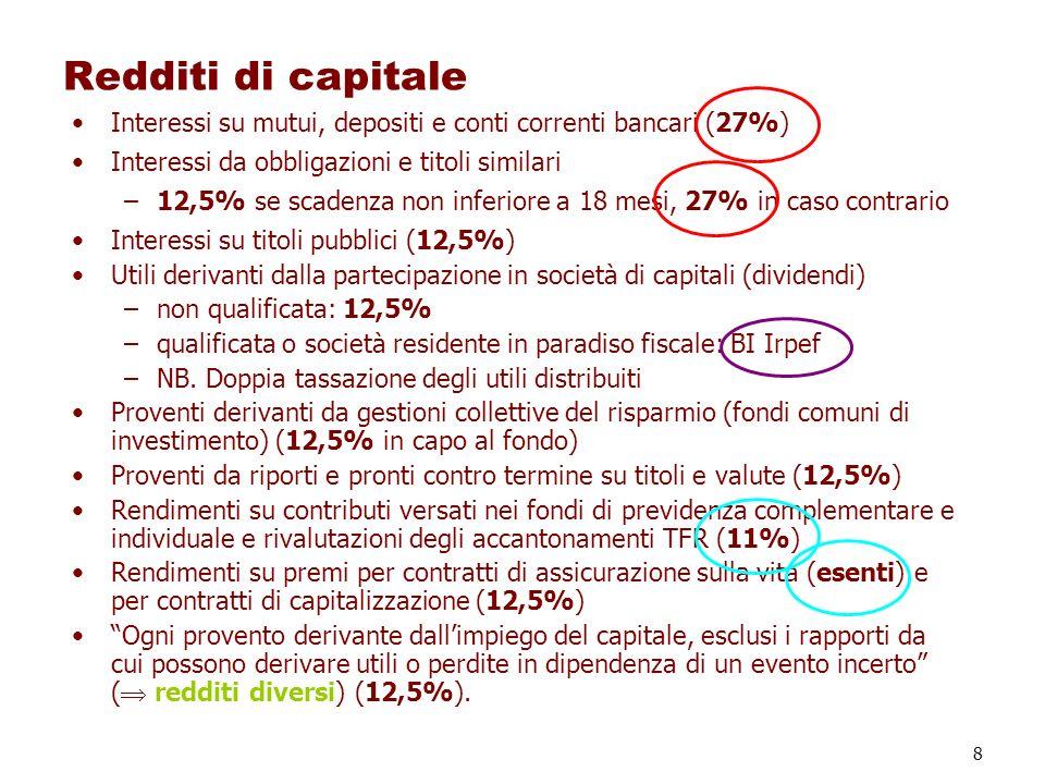 Redditi di capitale Interessi su mutui, depositi e conti correnti bancari (27%) Interessi da obbligazioni e titoli similari.