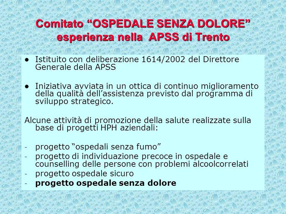 Comitato OSPEDALE SENZA DOLORE esperienza nella APSS di Trento