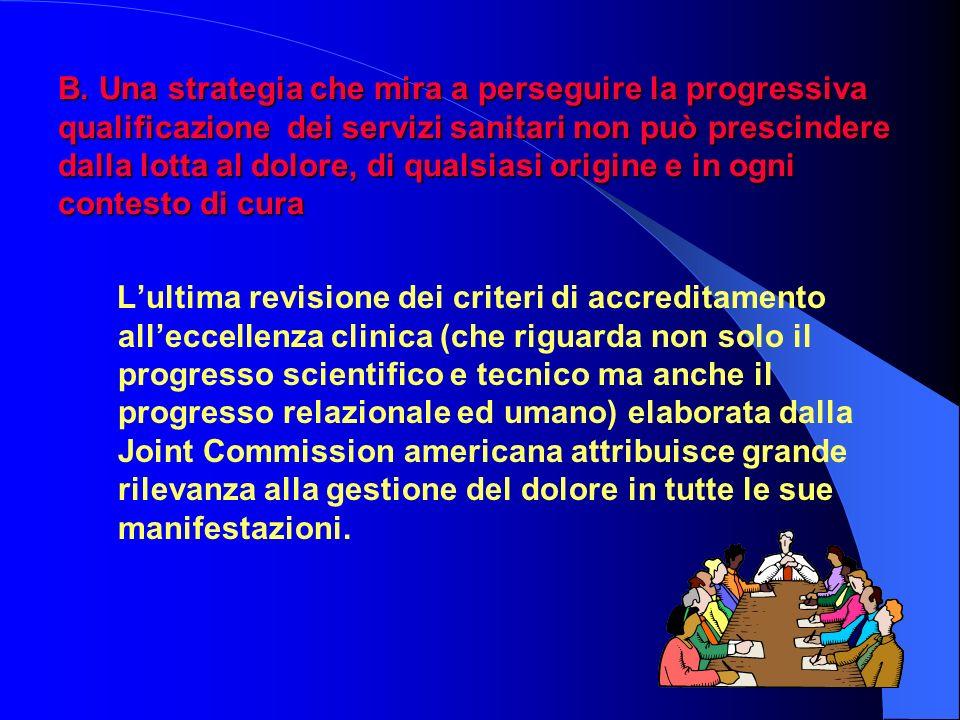 B. Una strategia che mira a perseguire la progressiva qualificazione dei servizi sanitari non può prescindere dalla lotta al dolore, di qualsiasi origine e in ogni contesto di cura