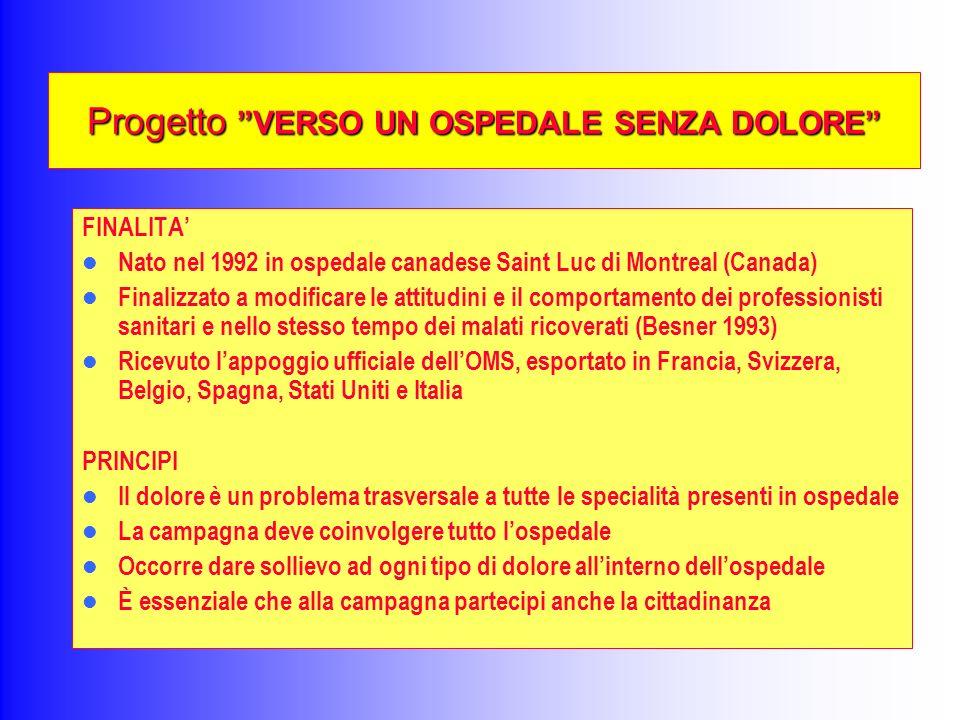 Progetto VERSO UN OSPEDALE SENZA DOLORE