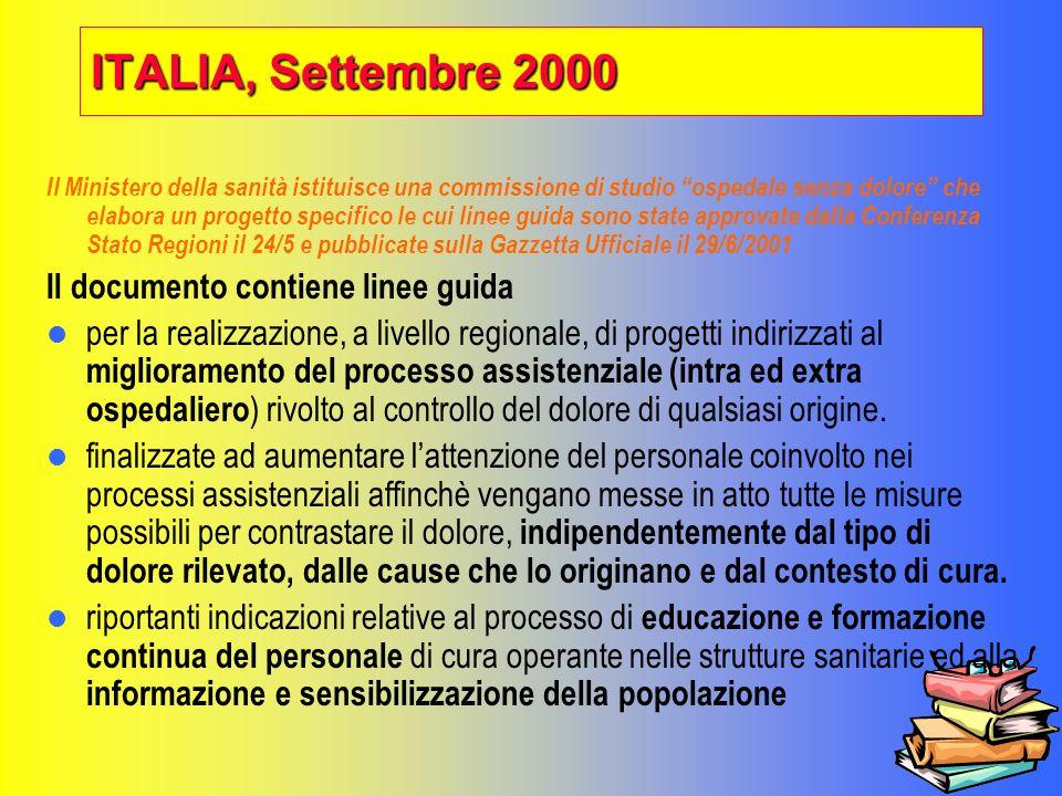 ITALIA, Settembre 2000 Il documento contiene linee guida