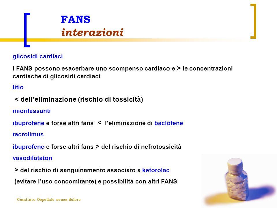FANS interazioni < dell'eliminazione (rischio di tossicità)