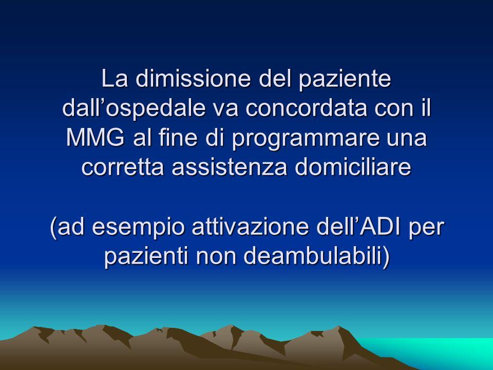 La dimissione del paziente dall'ospedale va concordata con il MMG al fine di programmare una corretta assistenza domiciliare (ad esempio attivazione dell'ADI per pazienti non deambulabili)