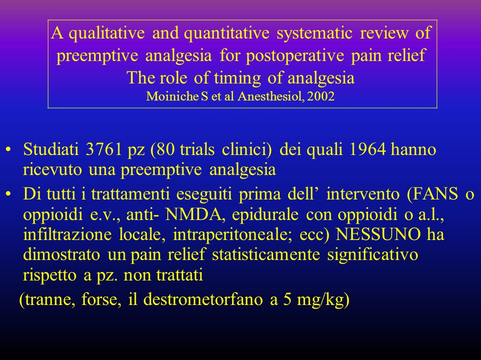 A qualitative and quantitative systematic review of preemptive analgesia for postoperative pain relief The role of timing of analgesia Moiniche S et al Anesthesiol, 2002