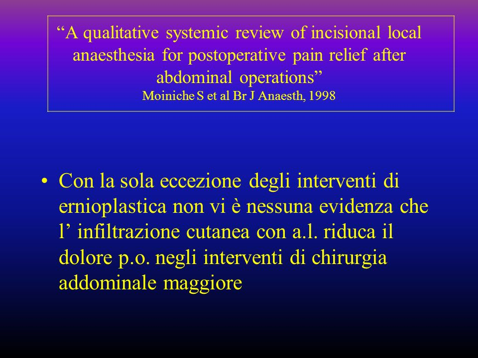 A qualitative systemic review of incisional local anaesthesia for postoperative pain relief after abdominal operations Moiniche S et al Br J Anaesth, 1998