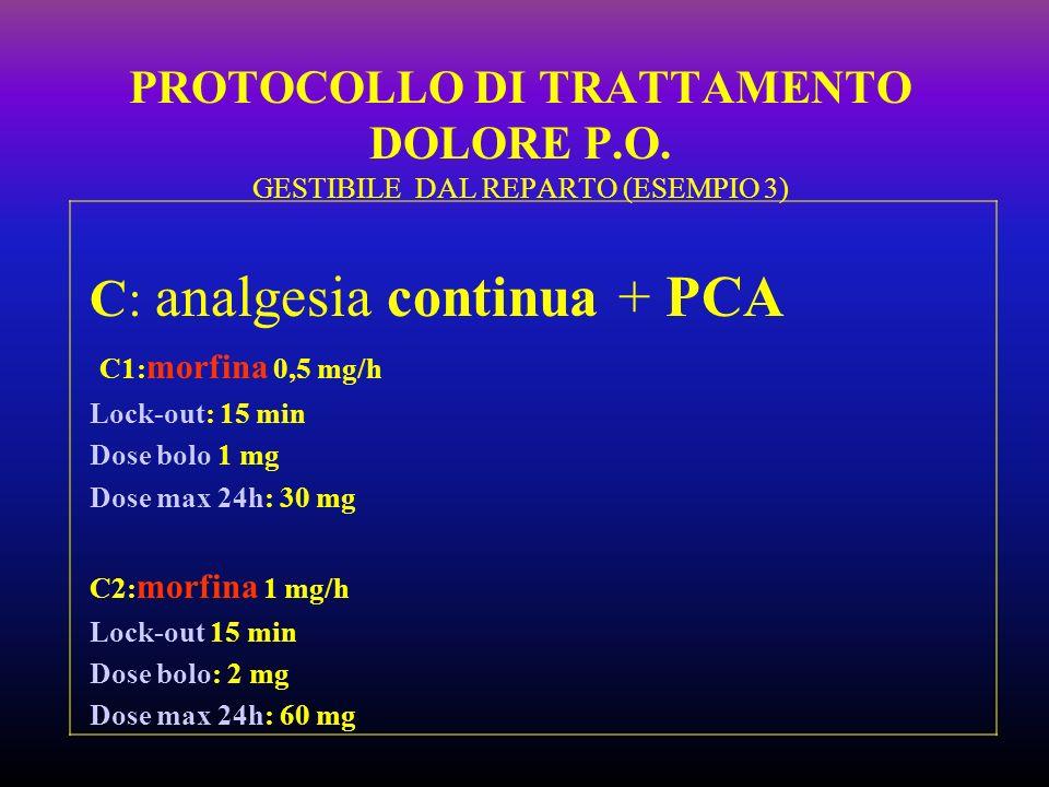 C: analgesia continua + PCA