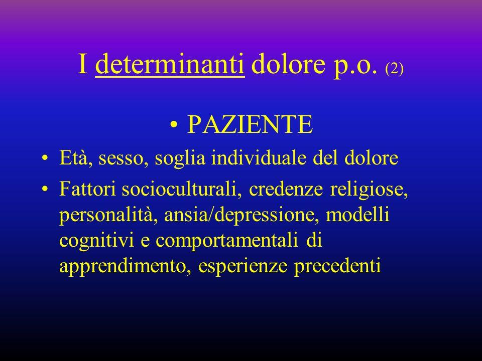 I determinanti dolore p.o. (2)