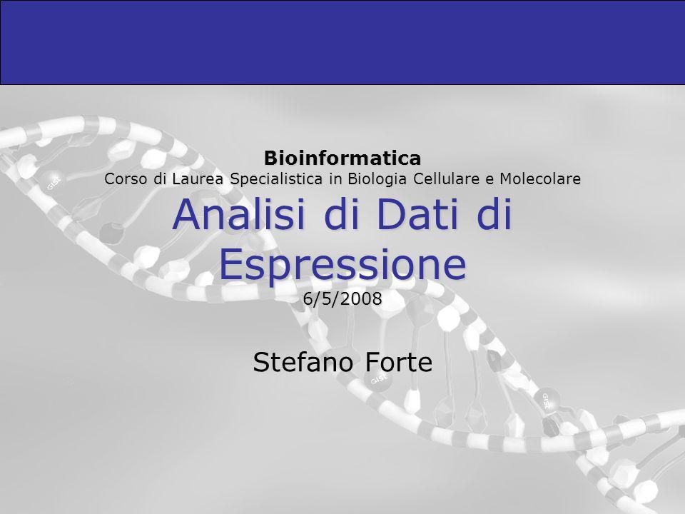 Bioinformatica Corso di Laurea Specialistica in Biologia Cellulare e Molecolare Analisi di Dati di Espressione 6/5/2008