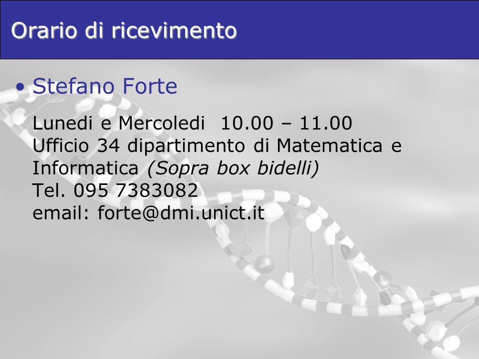 Orario di ricevimento Stefano Forte.