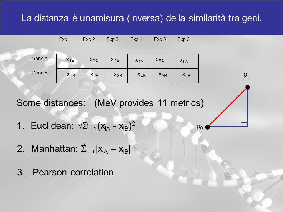 La distanza è unamisura (inversa) della similarità tra geni.