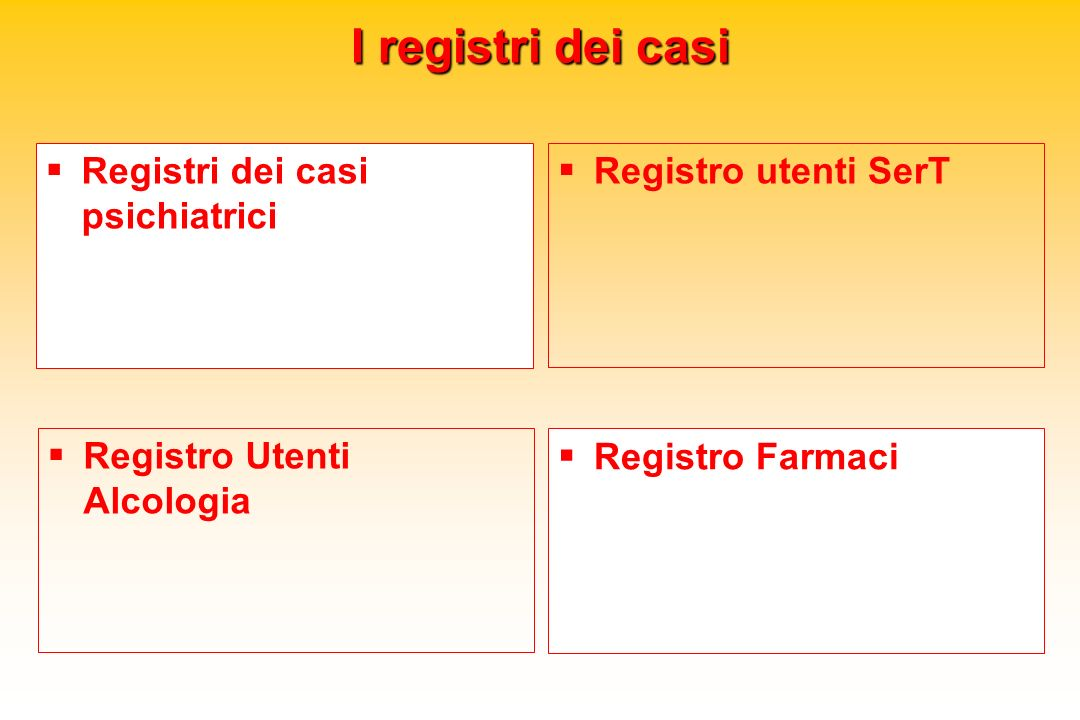 I registri dei casi Registri dei casi psichiatrici