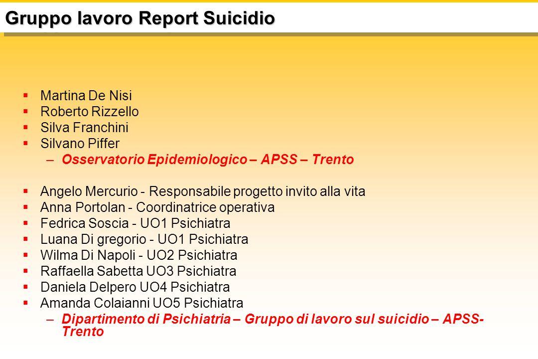 Gruppo lavoro Report Suicidio