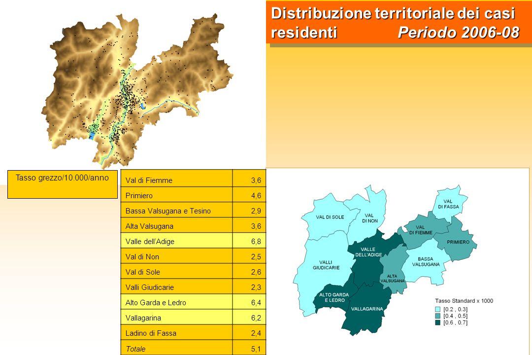 Distribuzione territoriale dei casi residenti Periodo 2006-08