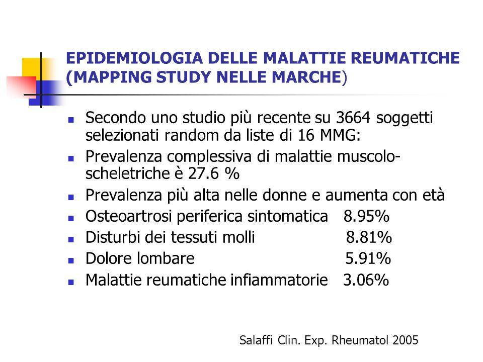 EPIDEMIOLOGIA DELLE MALATTIE REUMATICHE (MAPPING STUDY NELLE MARCHE)