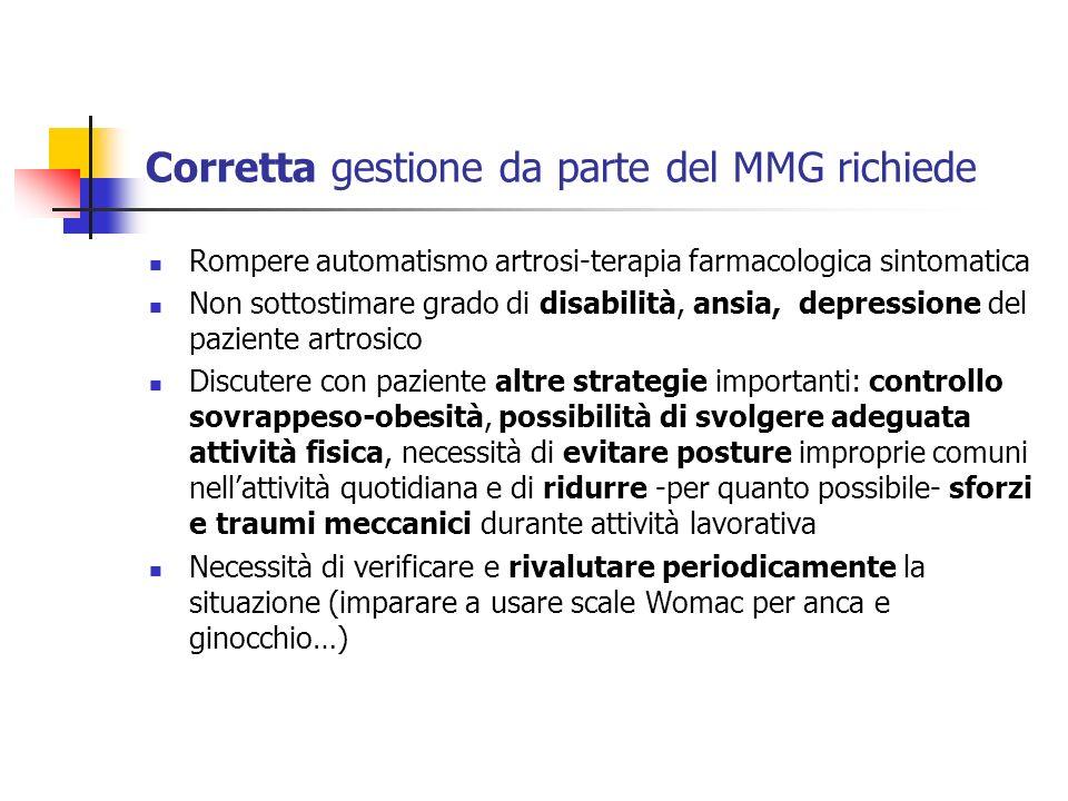 Corretta gestione da parte del MMG richiede