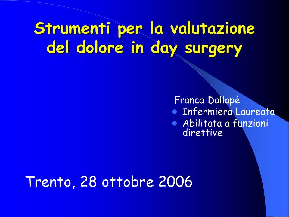 Strumenti per la valutazione del dolore in day surgery
