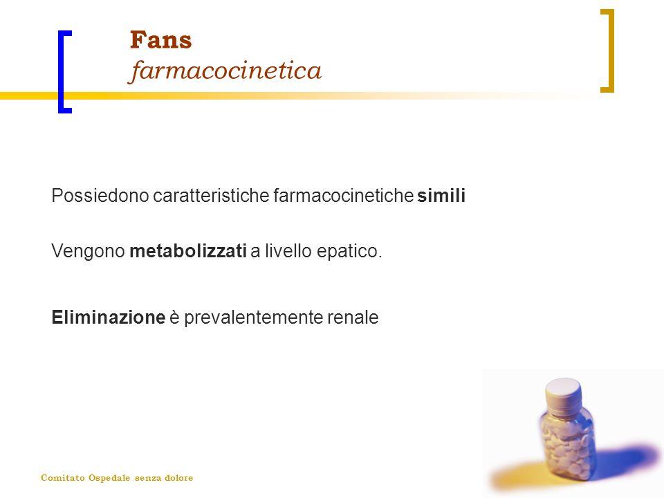 Fans farmacocinetica Possiedono caratteristiche farmacocinetiche simili. Vengono metabolizzati a livello epatico.