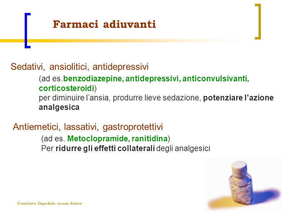 Farmaci adiuvanti Sedativi, ansiolitici, antidepressivi (ad es.benzodiazepine, antidepressivi, anticonvulsivanti, corticosteroidi)