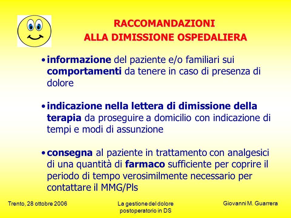 ALLA DIMISSIONE OSPEDALIERA