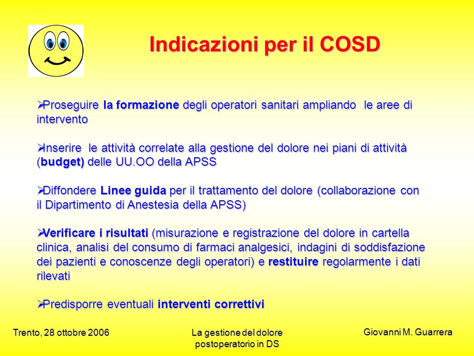Indicazioni per il COSD