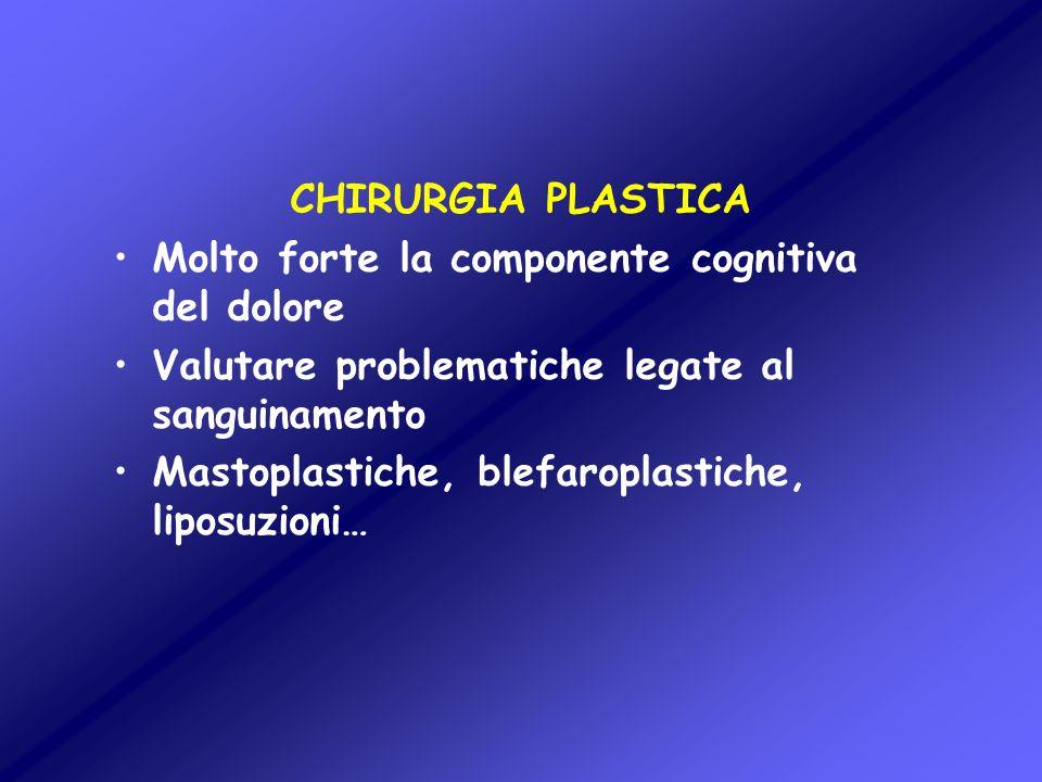 CHIRURGIA PLASTICA Molto forte la componente cognitiva del dolore. Valutare problematiche legate al sanguinamento.