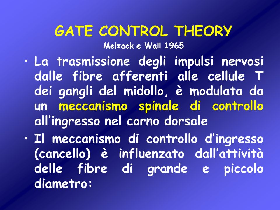 GATE CONTROL THEORY Melzack e Wall 1965.