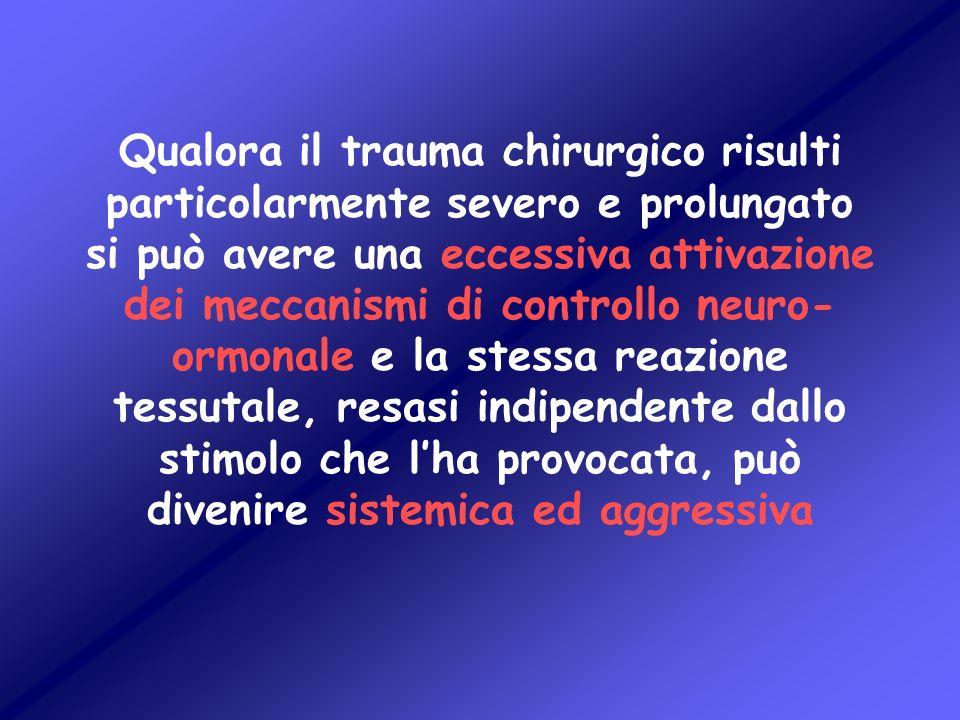 Qualora il trauma chirurgico risulti particolarmente severo e prolungato si può avere una eccessiva attivazione dei meccanismi di controllo neuro-ormonale e la stessa reazione tessutale, resasi indipendente dallo stimolo che l'ha provocata, può divenire sistemica ed aggressiva