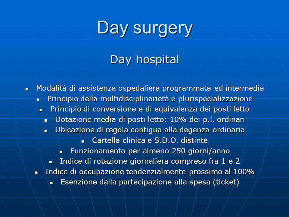 Day surgery Day hospital