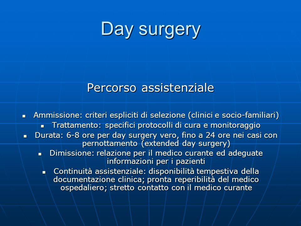Day surgery Percorso assistenziale