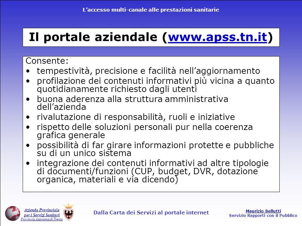 Il portale aziendale (www.apss.tn.it)