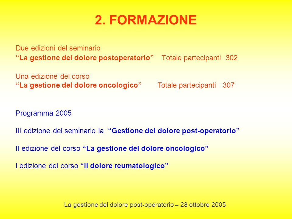 La gestione del dolore post-operatorio – 28 ottobre 2005