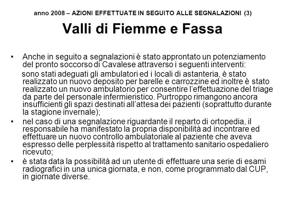 anno 2008 – AZIONI EFFETTUATE IN SEGUITO ALLE SEGNALAZIONI (3)