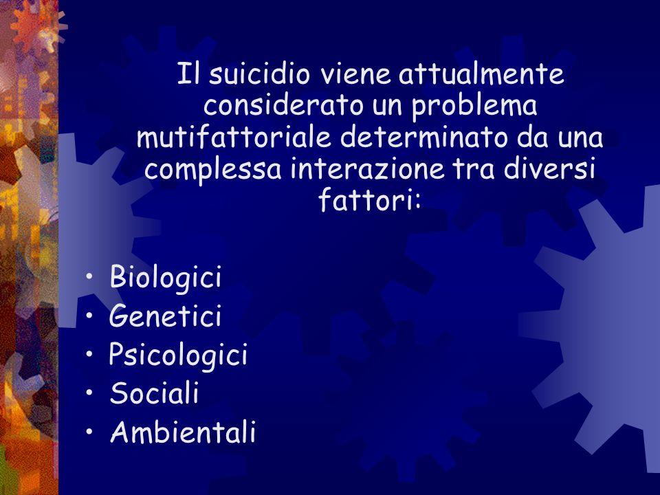 Il suicidio viene attualmente considerato un problema mutifattoriale determinato da una complessa interazione tra diversi fattori: