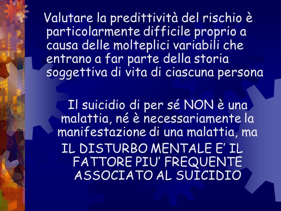 IL DISTURBO MENTALE E' IL FATTORE PIU' FREQUENTE ASSOCIATO AL SUICIDIO
