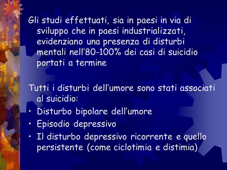 Gli studi effettuati, sia in paesi in via di sviluppo che in paesi industrializzati, evidenziano una presenza di disturbi mentali nell'80-100% dei casi di suicidio portati a termine