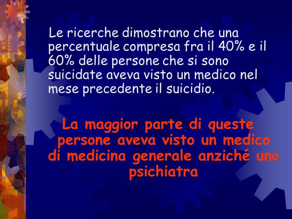 Le ricerche dimostrano che una percentuale compresa fra il 40% e il 60% delle persone che si sono suicidate aveva visto un medico nel mese precedente il suicidio.